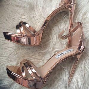 Rose Gold Platform Strappy Heels